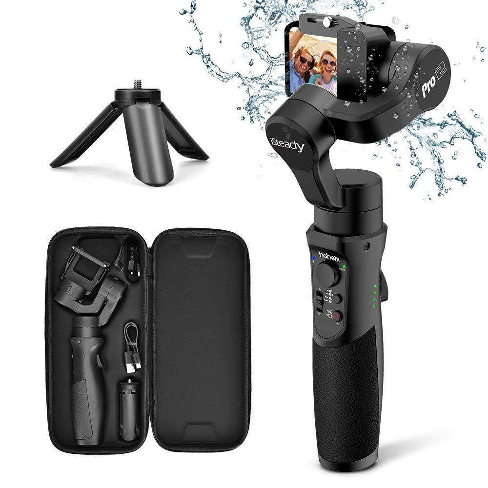 Hohem 3-Axis Gimbal Stabilizer for GoPro Hero 7/6/5/4/3, DJI Osmo Action, Yi Cam 4K, AEE, SJCAM Sports Cams Action Camera, with Sport Inception Mode, 12h Run-Time, Tripod Stand - iSteady Pro2 (NEW) by hohem
