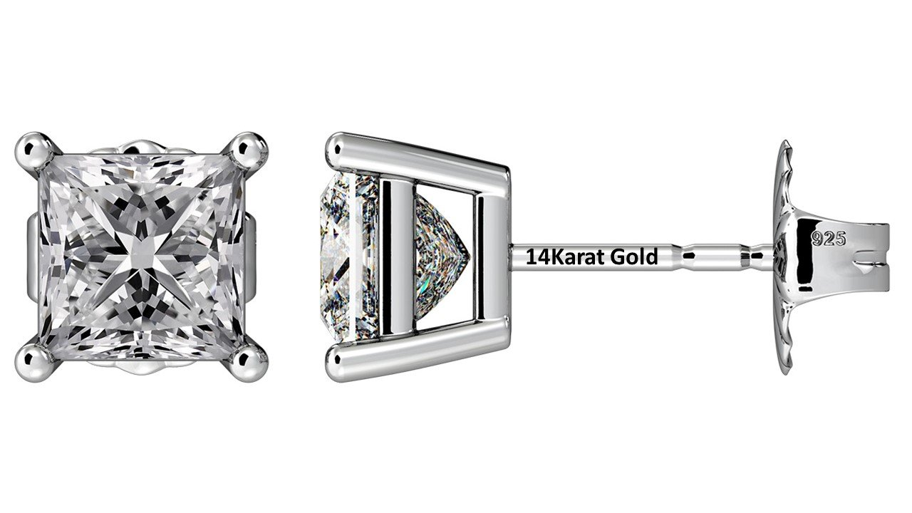 NANA Silver Princess CZ Stud Earrings with 14k Solid Gold Post-7.0mm-4.00cttw-Platinum Plated