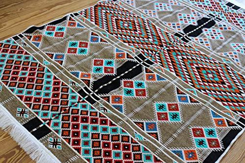 Elessar 130 x 200 cm,4'3″ x 6'5″, Kilim, Oriental Rug, Runner, Oriental Room Decoration, Flooring Living Room Hallway, Gift, Birthday Wedding, Flat, Tapestry ()