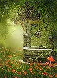 Leowefowa 3X5FT Vinyl Fairytale Backdrop Dreamland Forest Trees Blooming Furui Flowers Mushroom Grass Field Boleh Halos Glitter Sequins Fantasy Photography Background Kids Princess Photo Studio Props
