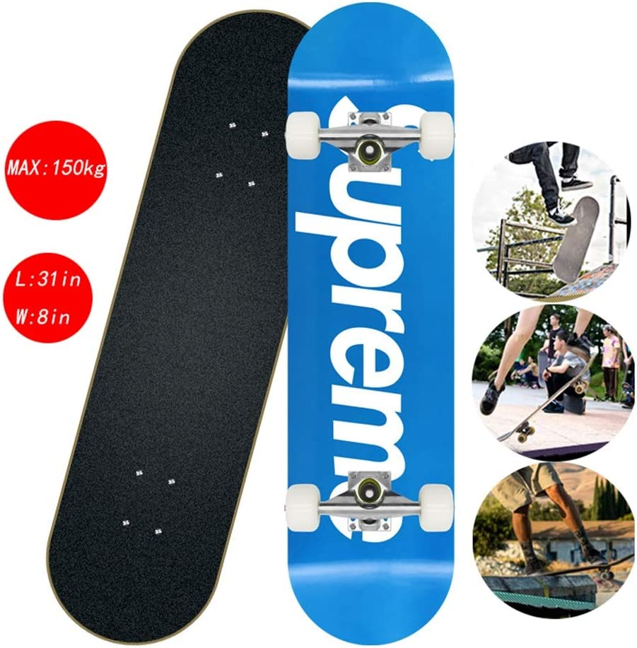 Adults Skateboard 31x8inch 7 Layer Maple Wood Double Kick Longboard Skateboards,Maximum Load 150kg with ABEC-7 Bearing and PU Wheel