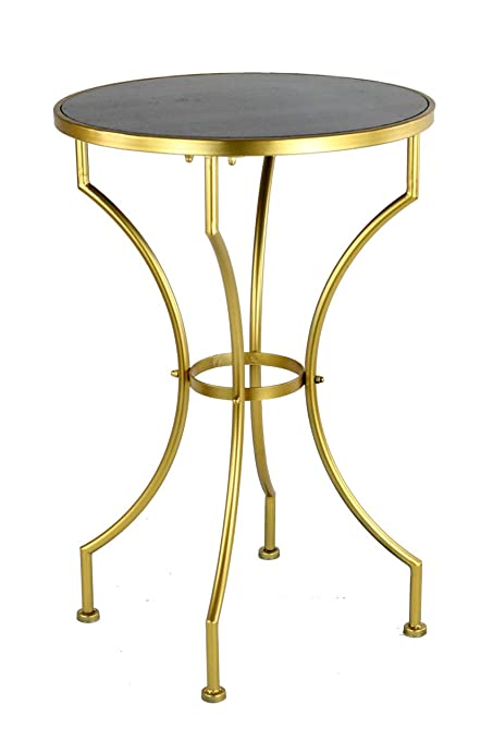 Vagabond Vintage, Black Stone And Gold Metal Round Table