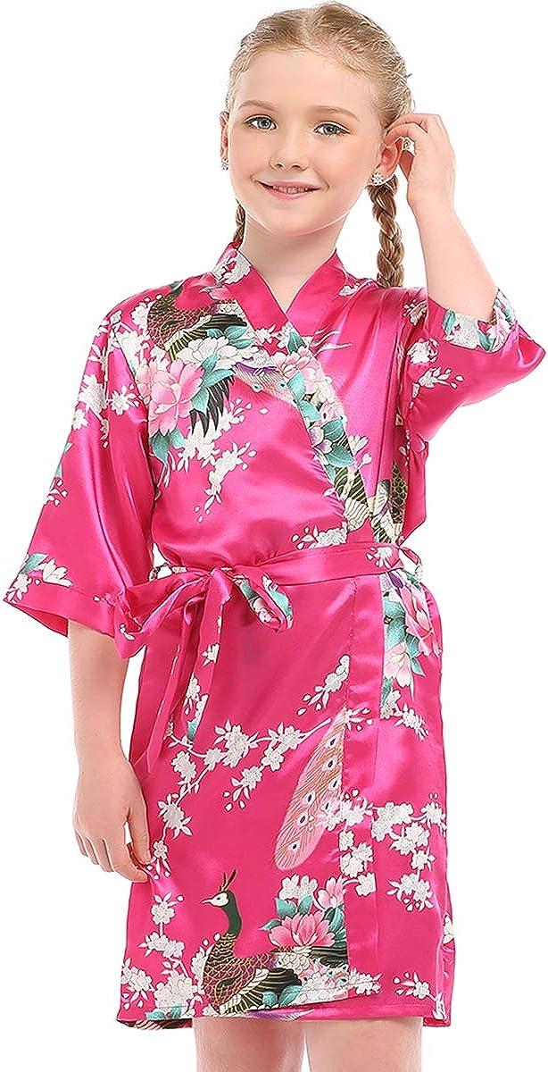 ELLENWELL Satin Robe for Kids Girls Kimono Robe Silk Robe for Wedding Party Gift