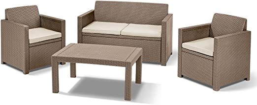 Allibert Lounge/Merano Set, Cappuccino/Arena, 124 x 80 x 59 cm, 233876: Amazon.es: Jardín