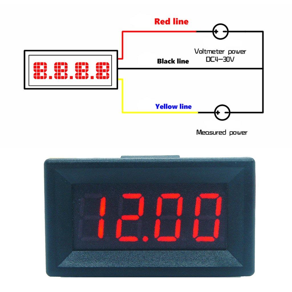 DC 0-99.99V (100V) 4-digits 0.36inch Digital Voltmeter 3Wire Voltage Panel Meter by SQLang (Image #4)