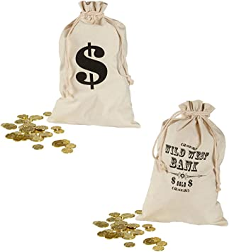 Bankräuber Geldsack Geldbeutel Dollarzeichen Cowboy Goldbeutel Dieb Geld-Sack