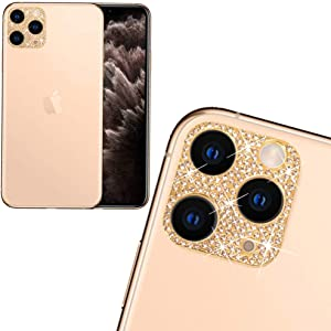 Rear Camera Decorations for iPhone 11 3D Bling Bling Diamond Lens Protective with Flash Hole Ring Anti-Fall Decorate Crystal Rhinstone Sticker iPhone11 Protector Cover Gold