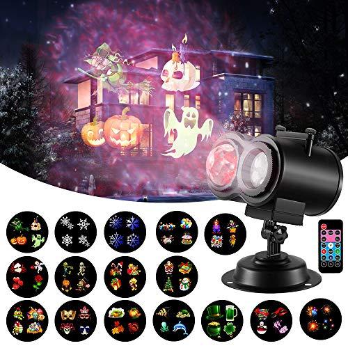 Halloween Christmas Projector Light, 16 Slides 2-in-1 Ocean Wave Projector Remote Control Indoor...