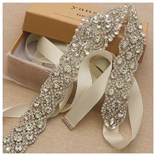 Yanstar Handmade Silver Rhinestone Crystal Wedding Bridal Belt Sash With Ivory Ribbon For Wedding Prom Dress by yanstar