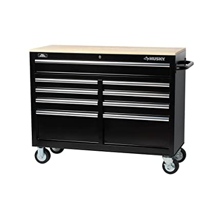 Husky Tool Cart >> Husky 46 In 9 Drawer Mobile Workbench With Solid Wood Top Black
