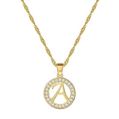 Suplight 18K Gold/Platinum Plated Cubic Zirconia Initial Letter Circle Pendant Necklace for Women utdGj2