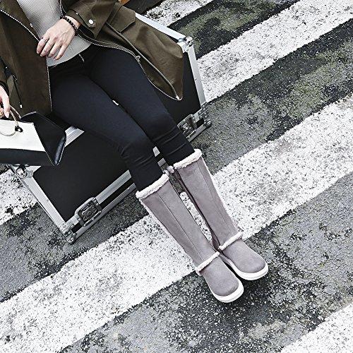 Hecater Mid-calf Snowboots Voor Vrouwen Outdoor Winterlaars Namaakbont Voering Schoenen Warme Slip Op Schoen Grijs