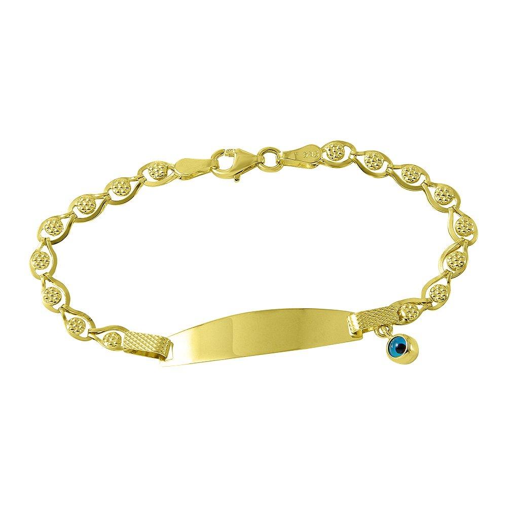 Fine 14k Gold Baby ID Bracelet with Evil Eye 5.5''