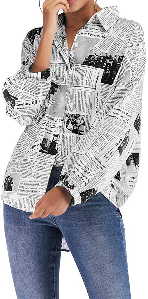 LUBITY Chemise Femme Automne Manches Longues Revers Imprim/é Journal Pull Chic Grande Taille Boutons L/âches Joker Pull T-Shirt Tops Blouse