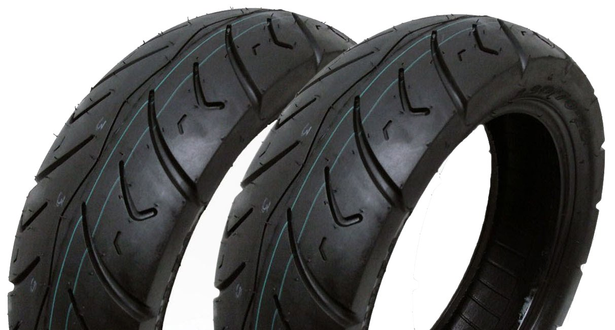 Motorcycle Scooter Tubeless Type Front Rear Street Tread SET OF TWO Tire Size 120//90-10 P116
