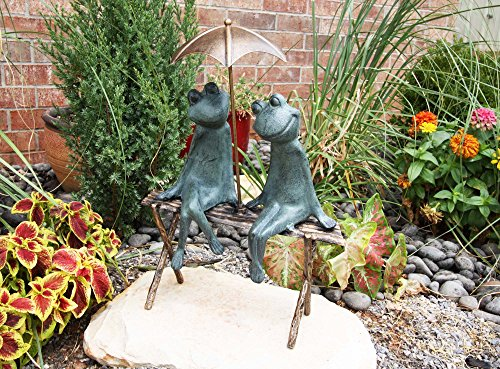 Green Frog Outdoor Furniture (Large Verdi Green Aluminum Two Lover Frogs Under Umbrella Garden Statue 18