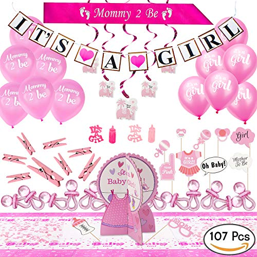 ARTIT Baby Shower Girl Pink Decorations Set Party Huge Bundle Supplies Kit with The Hottest Favors - It's a Girl Theme Banner Balloons Mommy Sash Elephant Swirls Pacifier Centerpiece Confetti -