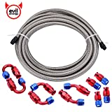 Evilenergy 16Ft 10AN Stainless Steel Braided Teflon PTFE E85 Fuel Line + 10AN Teflon Hose End Fitting Kit