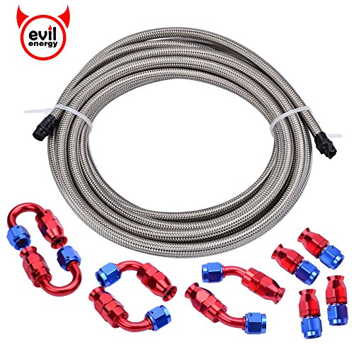 EVIL ENERGY 16Ft 6AN Stainless Steel Braided Teflon PTFE E85 Fuel Line + 6AN Teflon Hose End Fitting (Fuel Line Fittings Kit)