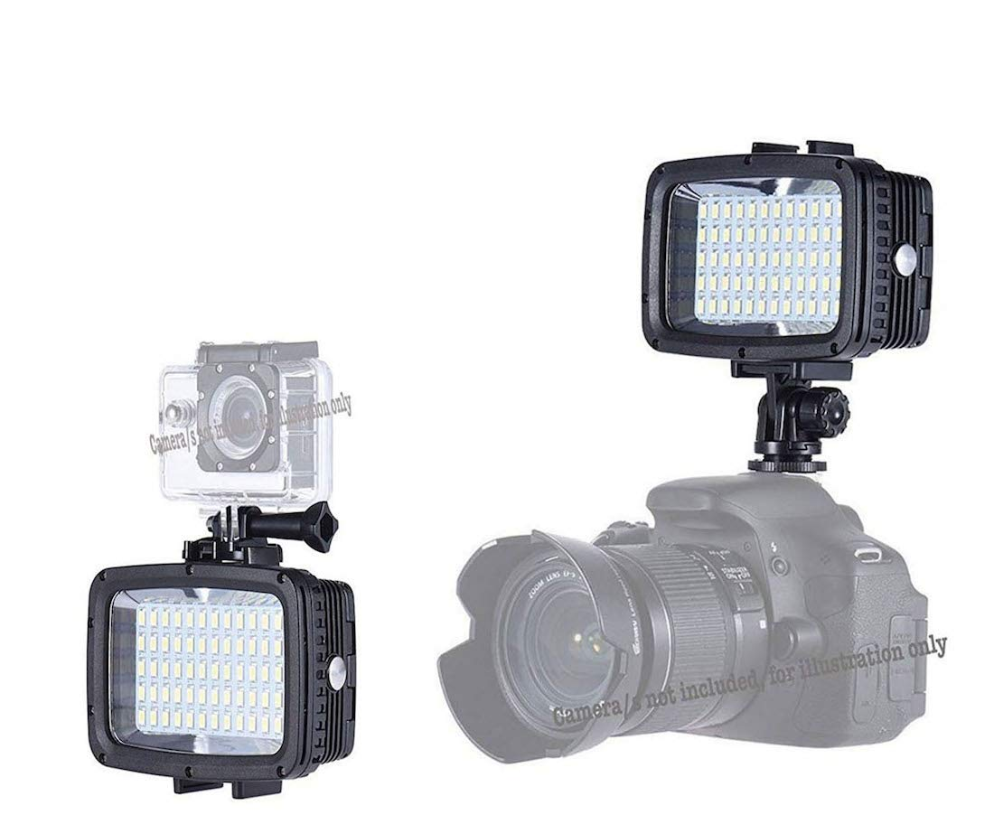 Casewarehouse Waterproof LED Video Light 40m Diving Fill-in Light Ultra Bright 1800Lm 60-LED 5500K 12W 3-Modes w/ 2x18650 Battery Studio Lamp for GoPro Action Camera Sony Canon DSLR Cameras (60LED) by Casewarehouse