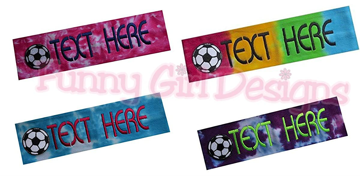 Personalized Monogrammed Embroidered Soccer Ball Patch Cotton Stretch  Headband CHOOSE YOUR CUSTOM COLORS FROM CHARTS IN ... 7a0913de8f0