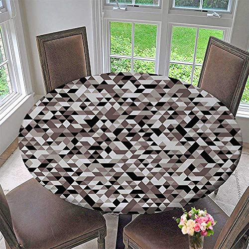 Mikihome Simple Modern Round Table Cloth Blurry able Design Shades of Colors Tones Grey Black and White for Daily use, Wedding, Restaurant 50
