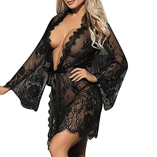 009f104a2 Challyhope Women s Lace Kimono Robe Babydoll Sexy Lingerie Mesh Nightgown  +G-String (S