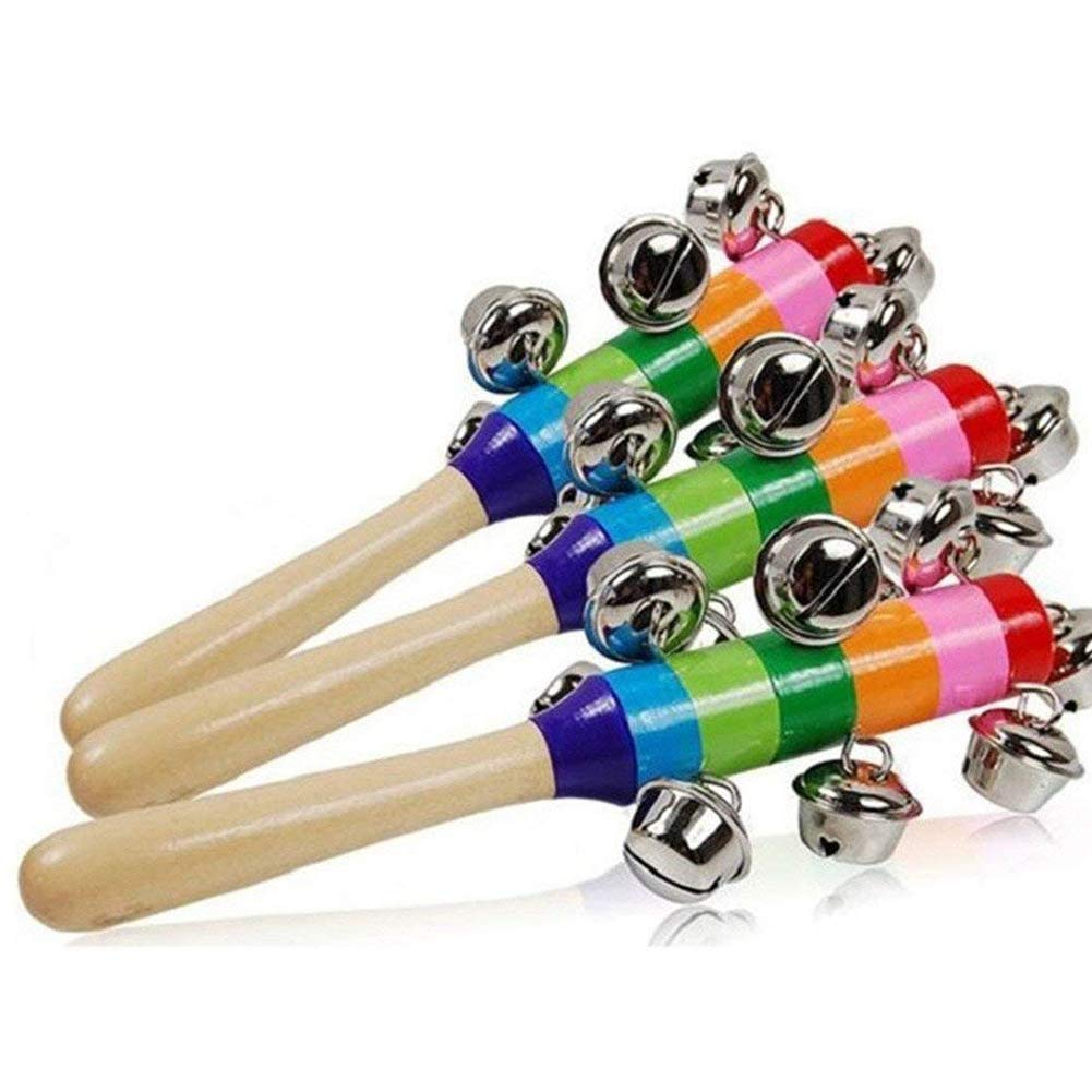 DierCosy Wooden Jingle Hand Bells Wooden Handheld Jingle Bells Wood Rhythm Bells Stick Color Rainbow Handle Wooden Bells Jingle Stick Shaker Rattle Toy BabyProducts