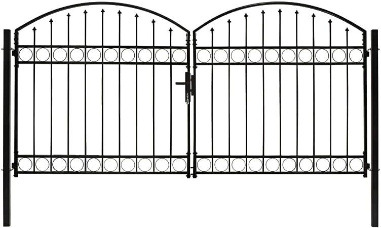 guyifuzhuangs Vallas de jardín Puertas de jardínCancela de Valla Doble Puerta con Arco 300x125 cm Acero Negro: Amazon.es: Hogar