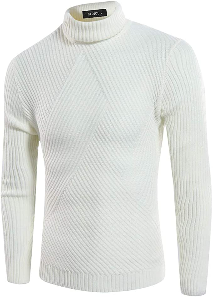Nidicus Men Comfortable Light Sweater Turtleneck Soft Casual Knitted Pullover