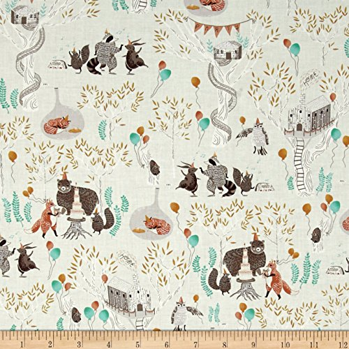 Dear Stella Foxtail Fern Treetop Party Mint Fabric By The Yard (Racoon Tail)