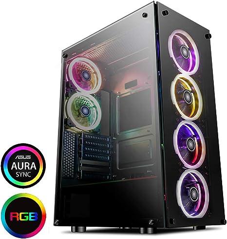 Game Max Predator - Caja de juegos de PC RGB de torre completa, E-ATX, ventana lateral