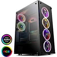 GameMax PREDATOR Full-Tower RGB PC Gaming Case, ATX, Full Tempered Glass Side Window, Black