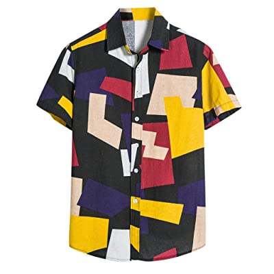 Shirt for Men, SFE Mens Contrast Color Geometric Printed Turn Down Collar Short Sleeve Loose Shirts at Men's Clothing store