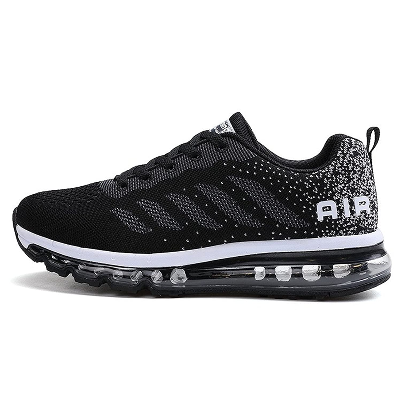 Herren Damen Sportschuhe Laufschuhe mit Luftpolster Turnschuhe Profilsohle Sneakers Leichte Schuhe Black Green 40 QzL1g