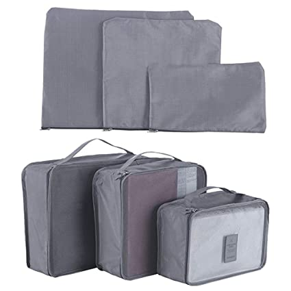 499ffe07bf18 Rainbow-Lee 6 Set Travel Luggage Packing Organizers Waterproof Clothes  Storage Bag Travel Pouches and Laundry Bags (Grey)