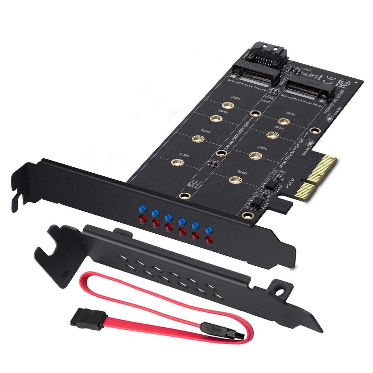 und zweite M.2-PCIe-3.0-SSD M-Key B-Key Hinzuf/ügen von M.2-SSD-Ger/äten zu PC oder Motherboard MZHOU Dual-M.2-SATA-III- und M2-zu-PCIe-3.0-X4-Adapterkarte unterst/ützt 1 M.2-SATA-III-SSD