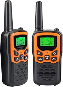 Walkie Talkies for Adults Kids, Long Range 2 Way Radios Up to 5 Miles - 22 Channel FRS/GMRS VOX Scan LCD Display with LED Flashlight for Outdoor Biking Hiking Camping, Best Gift, 2 Pack -Orange
