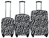 "Rivolite PC 3 Piece Luggage Set: 20"" 24"" 28"" Portable Suitcase Lightweight Unique Design Carry On Luggage (Zebra)"