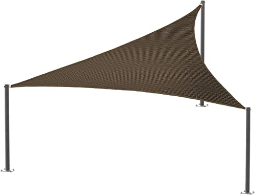 E K Sunrise 27' x 27' x 38' Brown Sun Shade Sail Right Triangle UV Block Durable Awning Perfect
