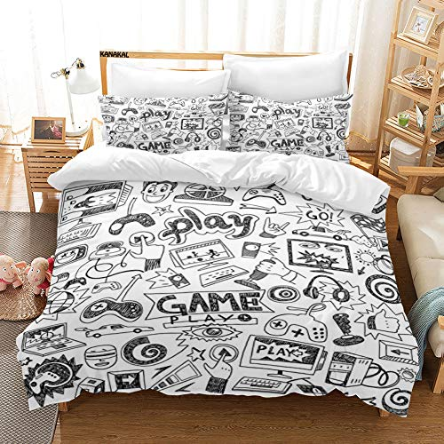 KANAKAL Video Games 3PC Bedding Set Monochrome Sketch Style Gaming Design Racing Monitor Device Gadget Teen 90's Theme Decor 1 Duvet Cover with 2 Matching Pillow Sham White and Black Full/Queen (Video Game Theme Bed Sheets)