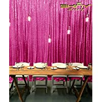 ShiDianYi--SEQUIN BACKDROP-8FTx10FT Sequin Photo Backdrop,Photo Booth Background,Sequence Christmas Backdrop Curtain ON SALE (Fuchsia)