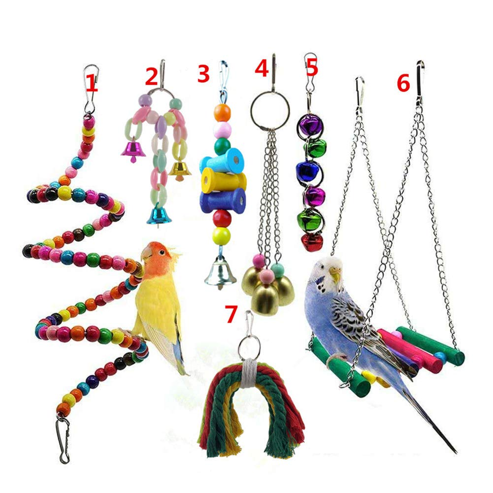 Gizhome Bird Parrot Toys, 7 Packs Bird Swing Chewing Hanging Perches with Bells Toys Suitable for Small Birds by Gizhome