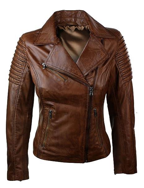 Biker chaqueta para mujer marrón 100% Piel Estilo Eng cremallera lateral.: Amazon.es: Ropa y accesorios