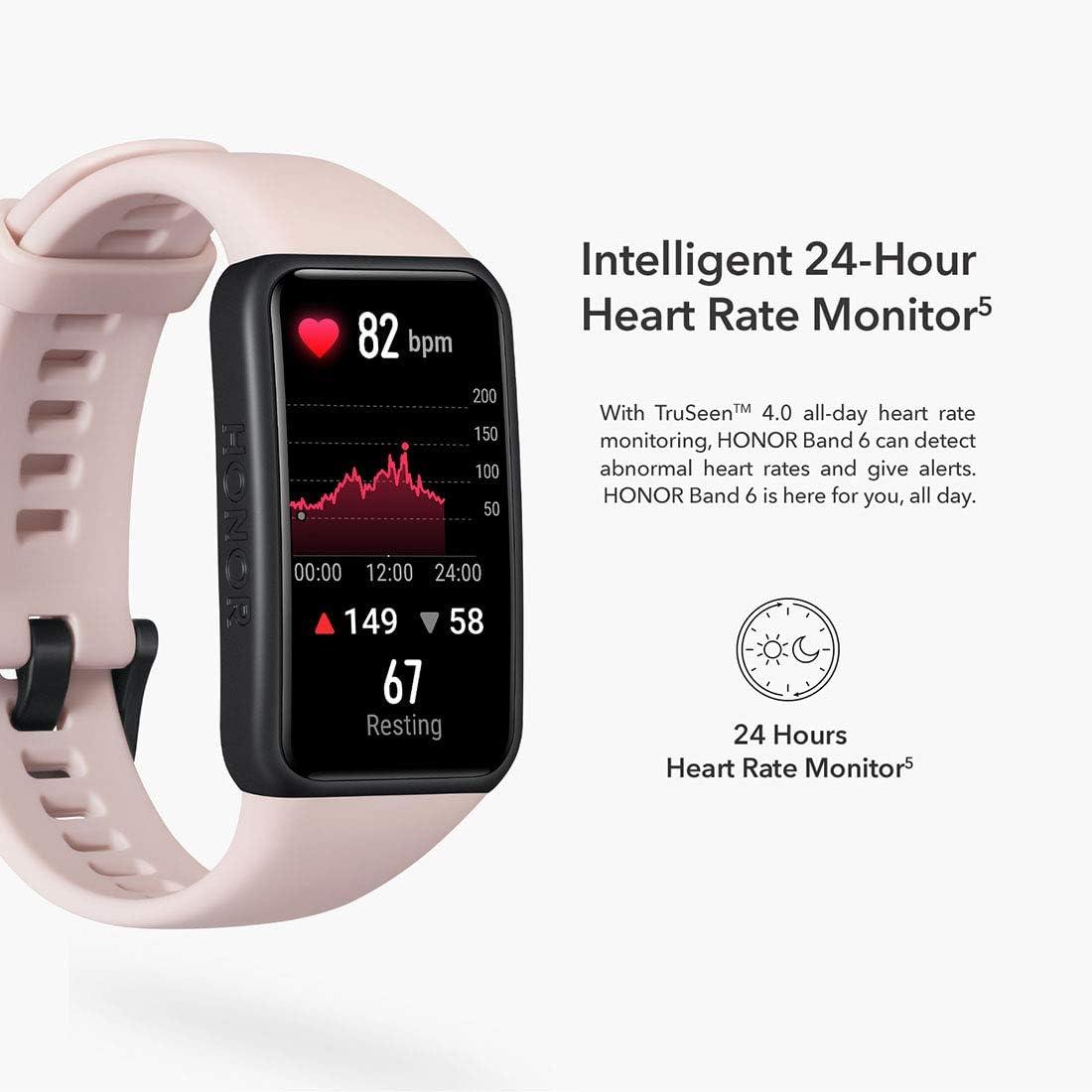 HONOR Band 6 Smartwatch Relojes Inteligentes Mujer Hombre, Monitoreo de SpO2 y frecuencia cardíaca Batería de 14 Días 1.47AMOLED Pulsera Monitores ...