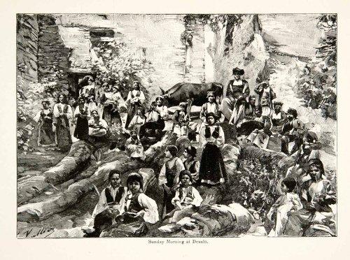 [1896 Wood Engraving Gaston Vuillier Desulo Sunday Mass Costume Traditional Art - Original Wood Engraving] (Costume Di Desulo)