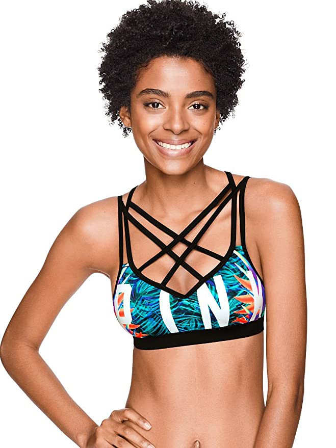 75a8b05bf6 Victoria s Secret Pink Ultimate Lightly Lined Sports Bra Neon Palm Print at Amazon  Women s Clothing store