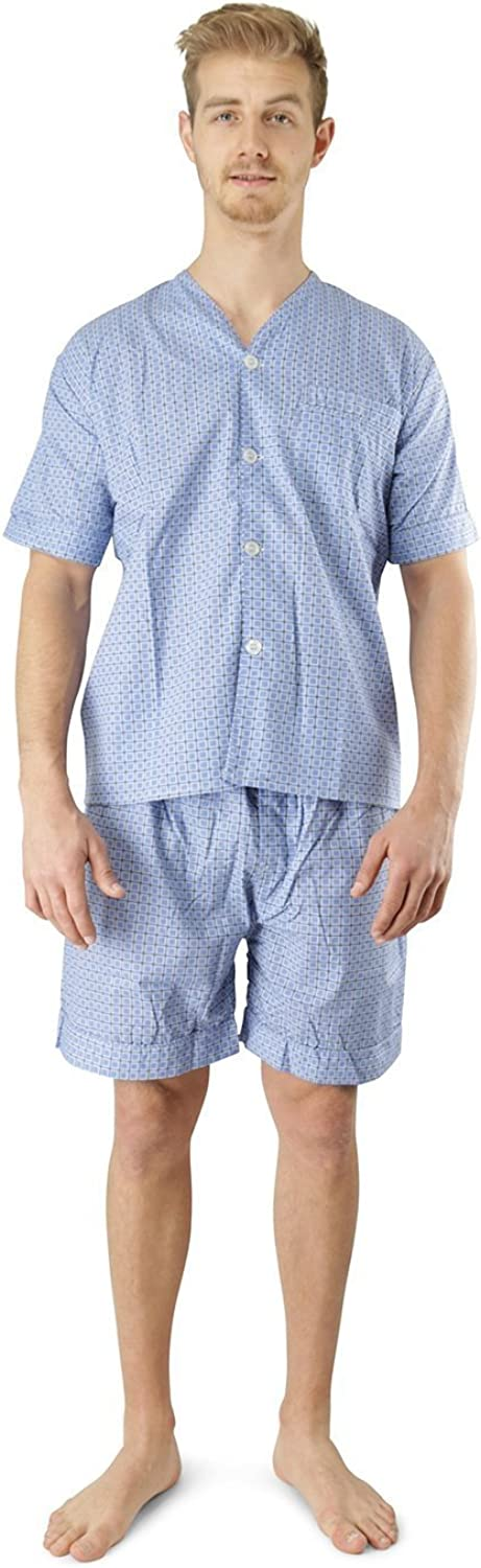 Men's Woven Pajama V-Neck Sleepwear Short Sleeve Shorts and Top Set, Sizes S/4XL