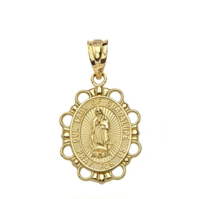 14k Yellow Gold Religious Miraculous Medal Of Our Lady Of Grace Pendant Charm