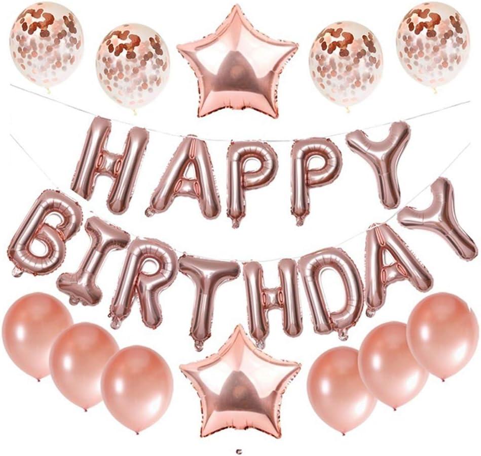 Haimimall Black Happy Birthday Balloons Birthday Party Decorations Black 13pcs Letters Balloons 2pcs Giant Star Foil Balloons 4pcs Confetti Balloons 10pcs Latex Balloons